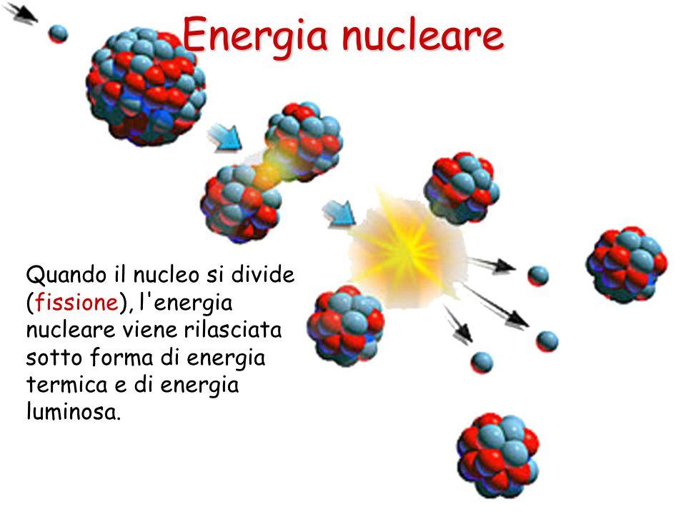 Quando il nucleo si divide (fissione), l'energia nucleare viene rilasciata sotto forma di energia termica e di energia luminosa. Energia nucleare