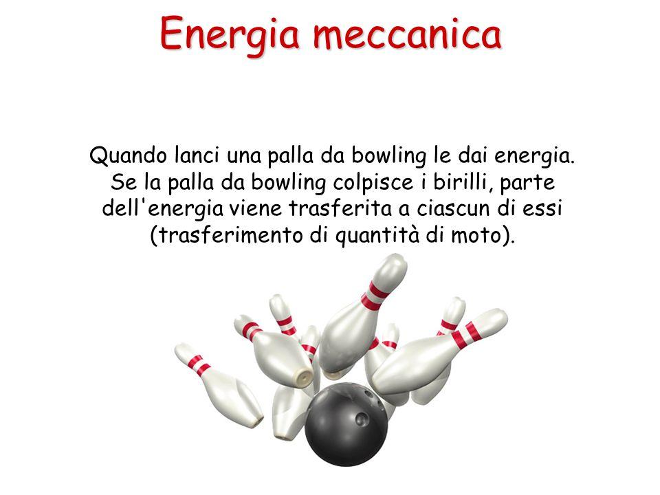 Quando lanci una palla da bowling le dai energia. Se la palla da bowling colpisce i birilli, parte dell'energia viene trasferita a ciascun di essi (tr