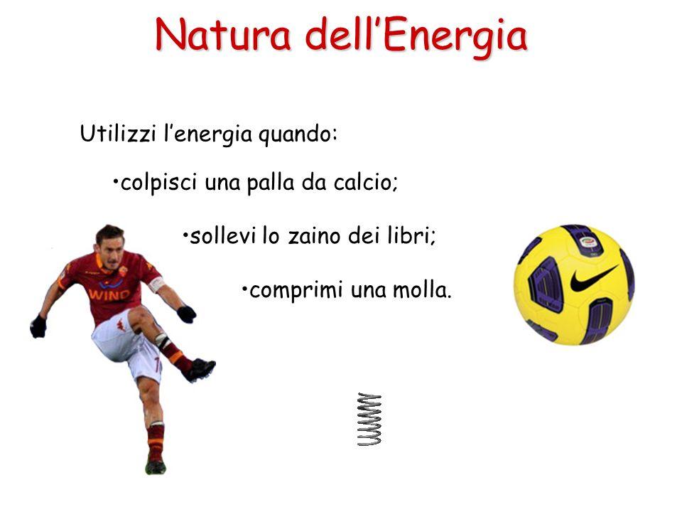 Natura dellEnergia Utilizzi lenergia quando: colpisci una palla da calcio; sollevi lo zaino dei libri; comprimi una molla.