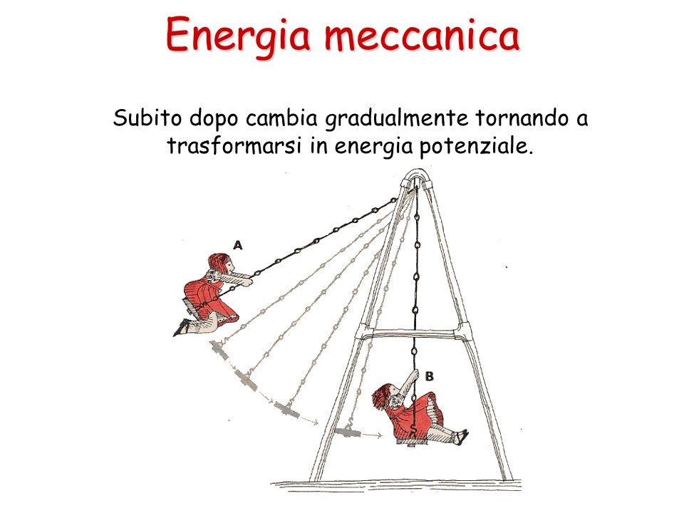 Subito dopo cambia gradualmente tornando a trasformarsi in energia potenziale. Energia meccanica