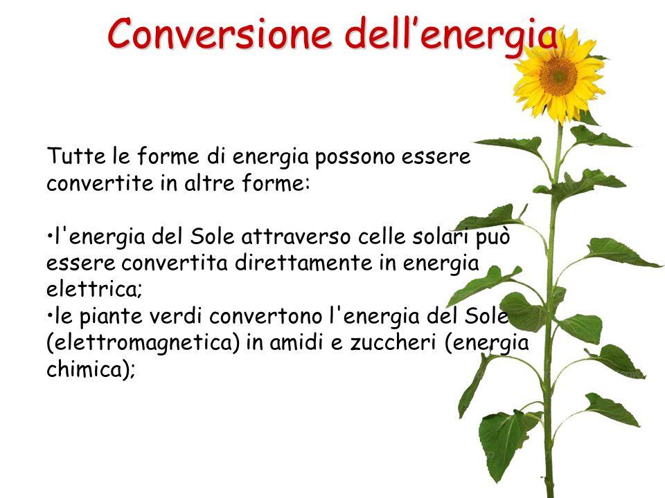 Tutte le forme di energia possono essere convertite in altre forme: l'energia del Sole attraverso celle solari può essere convertita direttamente in e