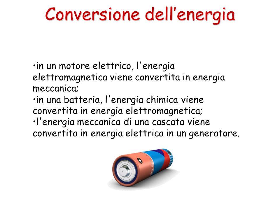 in un motore elettrico, l'energia elettromagnetica viene convertita in energia meccanica; in una batteria, l'energia chimica viene convertita in energ