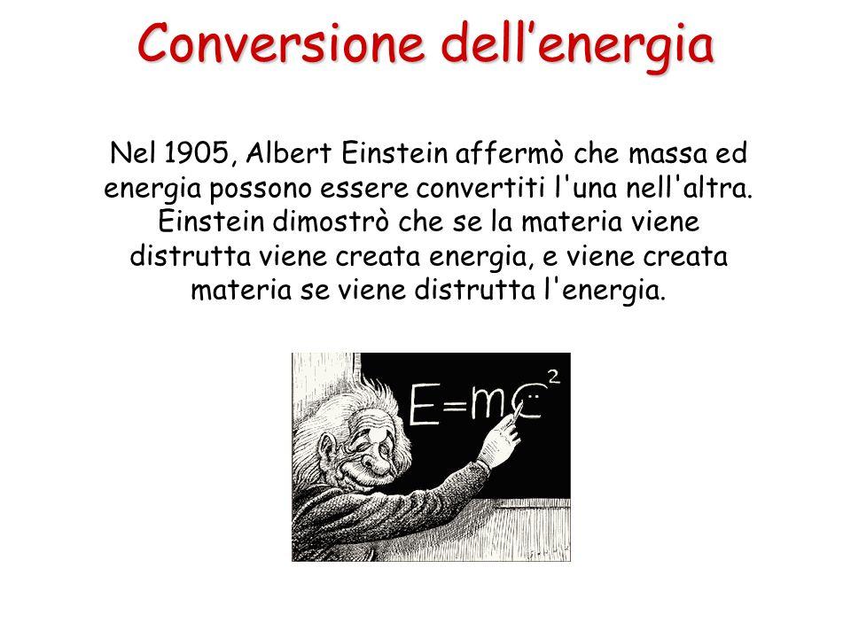 Nel 1905, Albert Einstein affermò che massa ed energia possono essere convertiti l'una nell'altra. Einstein dimostrò che se la materia viene distrutta