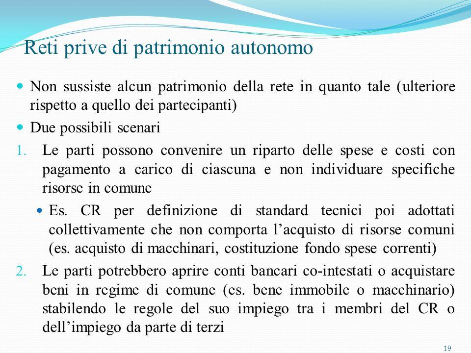 19 Reti prive di patrimonio autonomo Non sussiste alcun patrimonio della rete in quanto tale (ulteriore rispetto a quello dei partecipanti) Due possibili scenari 1.