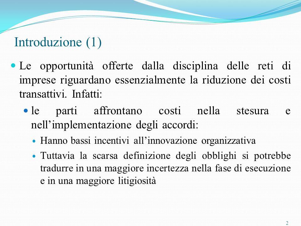2 Introduzione (1) Le opportunità offerte dalla disciplina delle reti di imprese riguardano essenzialmente la riduzione dei costi transattivi.