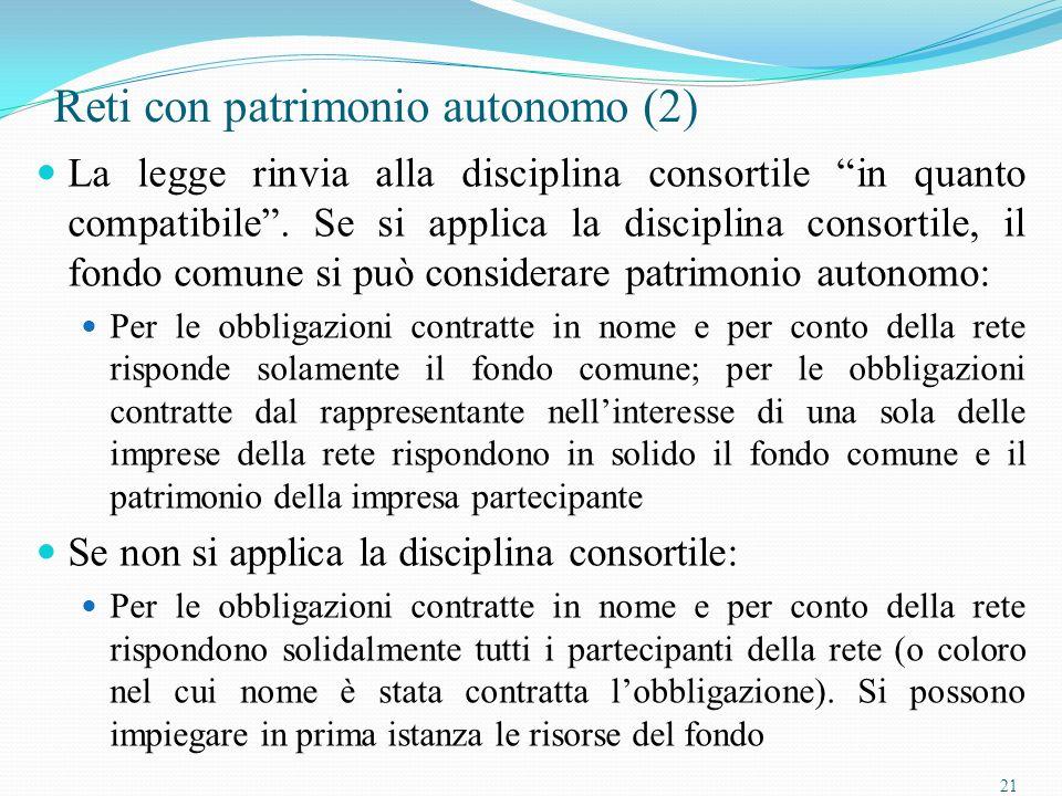 21 Reti con patrimonio autonomo (2) La legge rinvia alla disciplina consortile in quanto compatibile.