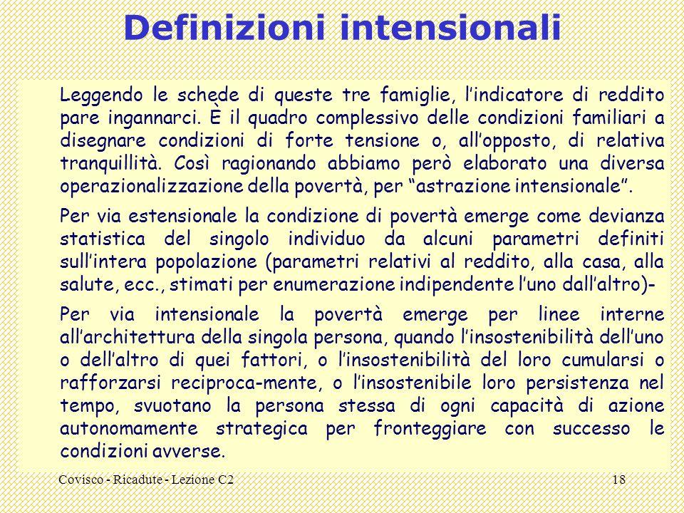 Covisco - Ricadute - Lezione C218 Definizioni intensionali Leggendo le schede di queste tre famiglie, lindicatore di reddito pare ingannarci.