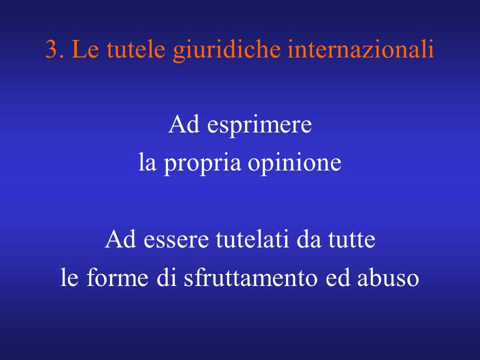 3. Le tutele giuridiche internazionali Ad esprimere la propria opinione Ad essere tutelati da tutte le forme di sfruttamento ed abuso