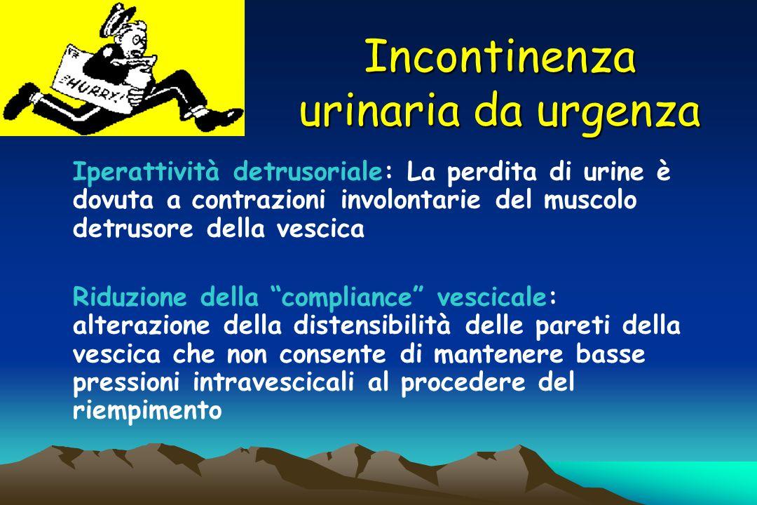 Incontinenza urinaria da urgenza Iperattività detrusoriale: La perdita di urine è dovuta a contrazioni involontarie del muscolo detrusore della vescic