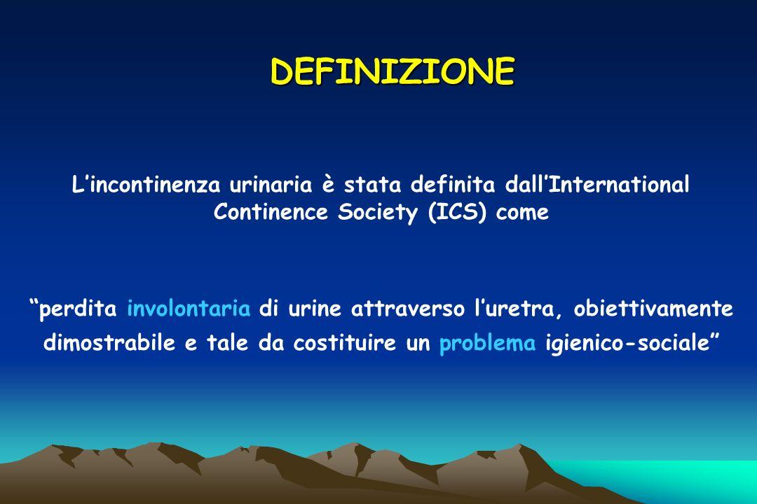 DEFINIZIONE Lincontinenza urinaria è stata definita dallInternational Continence Society (ICS) come perdita involontaria di urine attraverso luretra,