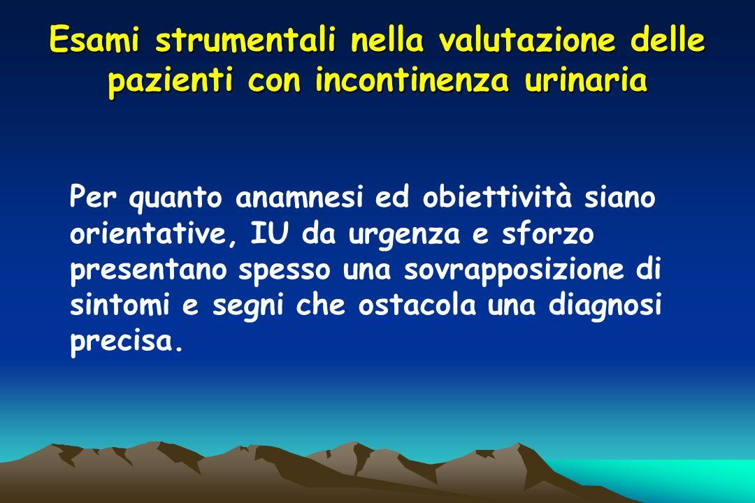 Esami strumentali nella valutazione delle pazienti con incontinenza urinaria Per quanto anamnesi ed obiettività siano orientative, IU da urgenza e sfo