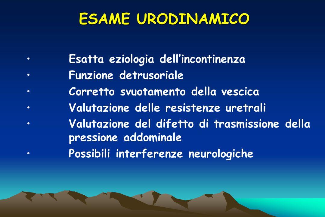 ESAME URODINAMICO Esatta eziologia dellincontinenza Funzione detrusoriale Corretto svuotamento della vescica Valutazione delle resistenze uretrali Val