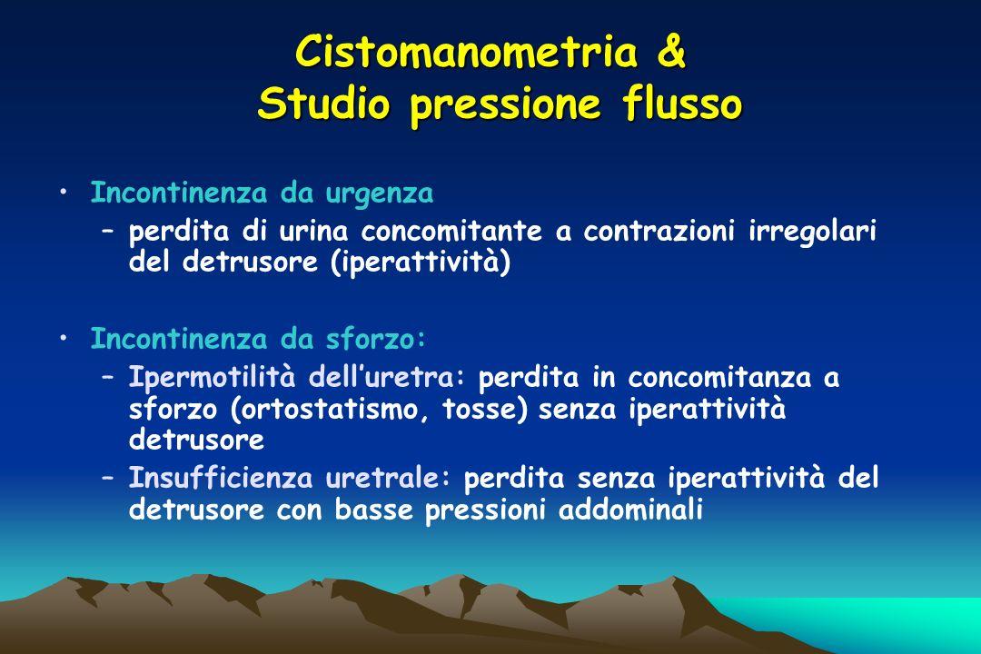 Cistomanometria & Studio pressione flusso Incontinenza da urgenza –perdita di urina concomitante a contrazioni irregolari del detrusore (iperattività)