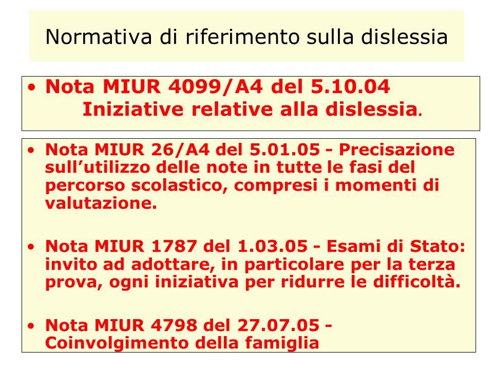 Normativa di riferimento sulla dislessia Nota MIUR 26/A4 del 5.01.05 - Precisazione sullutilizzo delle note in tutte le fasi del percorso scolastico,