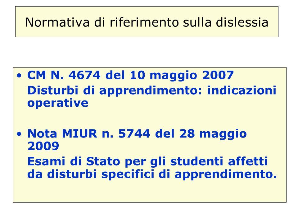 Normativa di riferimento sulla dislessia CM N. 4674 del 10 maggio 2007 Disturbi di apprendimento: indicazioni operative Nota MIUR n. 5744 del 28 maggi
