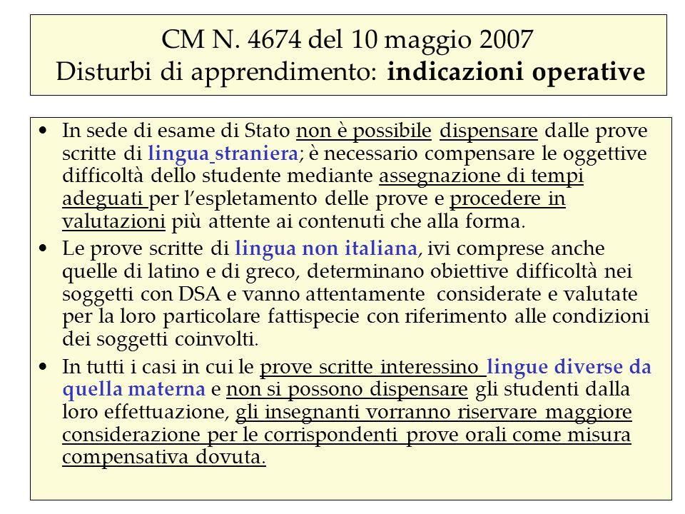 CM N. 4674 del 10 maggio 2007 Disturbi di apprendimento: indicazioni operative In sede di esame di Stato non è possibile dispensare dalle prove scritt
