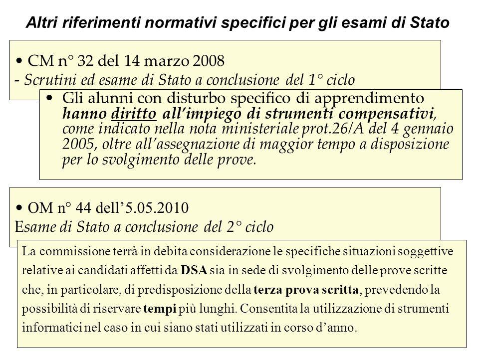 CM n° 32 del 14 marzo 2008 - Scrutini ed esame di Stato a conclusione del 1° ciclo Gli alunni con disturbo specifico di apprendimento hanno diritto al