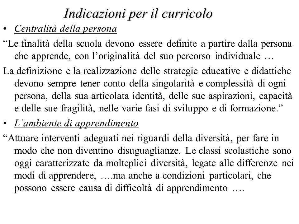 Indicazioni per il curricolo Centralità della persona Le finalità della scuola devono essere definite a partire dalla persona che apprende, con lorigi
