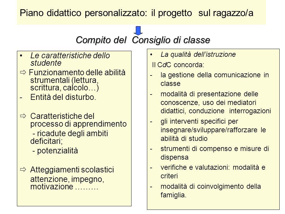 Compito del Consiglio di classe Le caratteristiche dello studente Funzionamento delle abilità strumentali (lettura, scrittura, calcolo…) -Entità del d