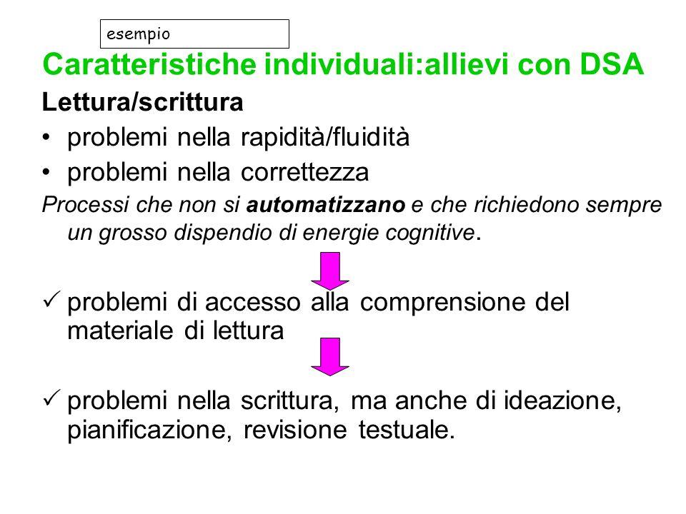Caratteristiche individuali:allievi con DSA Lettura/scrittura problemi nella rapidità/fluidità problemi nella correttezza Processi che non si automati