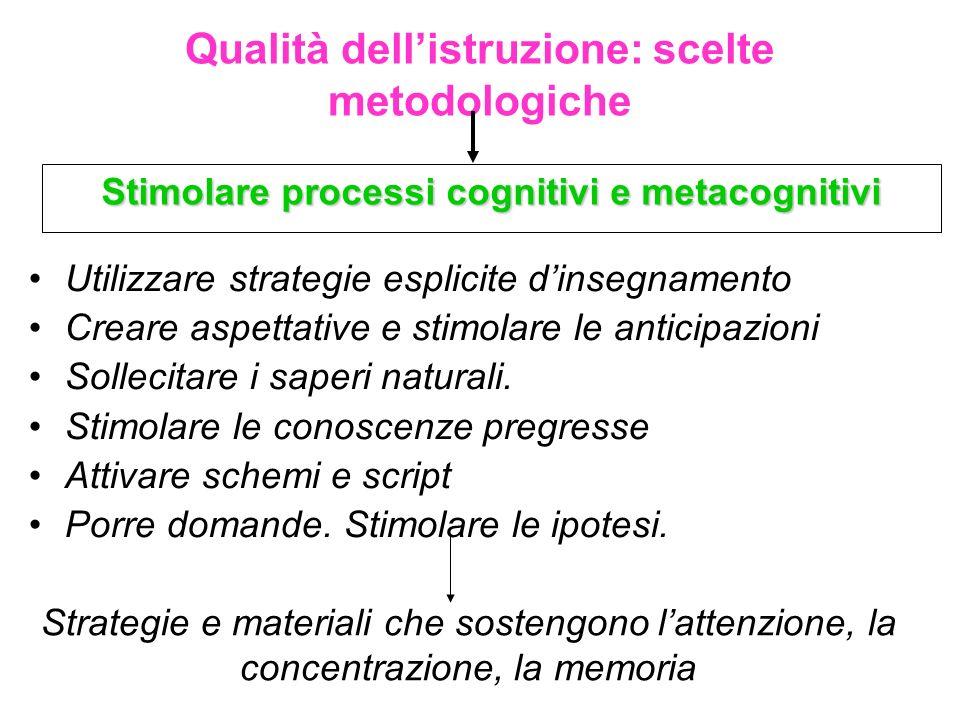 Qualità dellistruzione: scelte metodologiche Stimolare processi cognitivi e metacognitivi Strategie e materiali che sostengono lattenzione, la concent