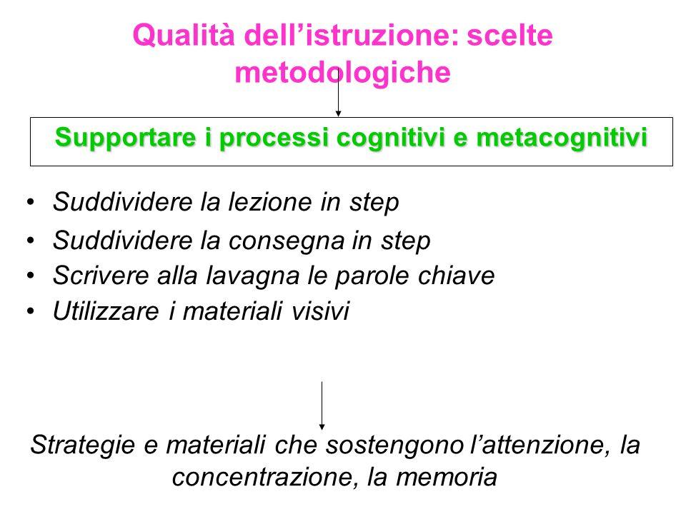 Qualità dellistruzione: scelte metodologiche Supportare i processi cognitivi e metacognitivi Strategie e materiali che sostengono lattenzione, la conc