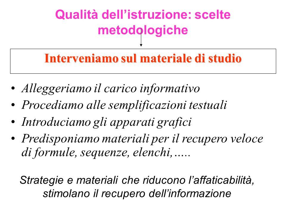 Interveniamo sul materiale di studio Qualità dellistruzione: scelte metodologiche Alleggeriamo il carico informativo Procediamo alle semplificazioni t