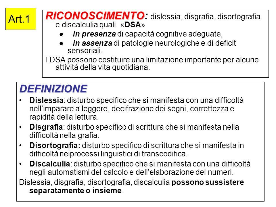 Art.1 RICONOSCIMENTO RICONOSCIMENTO: dislessia, disgrafia, disortografia e discalculia quali «DSA» in presenza di capacità cognitive adeguate, in asse