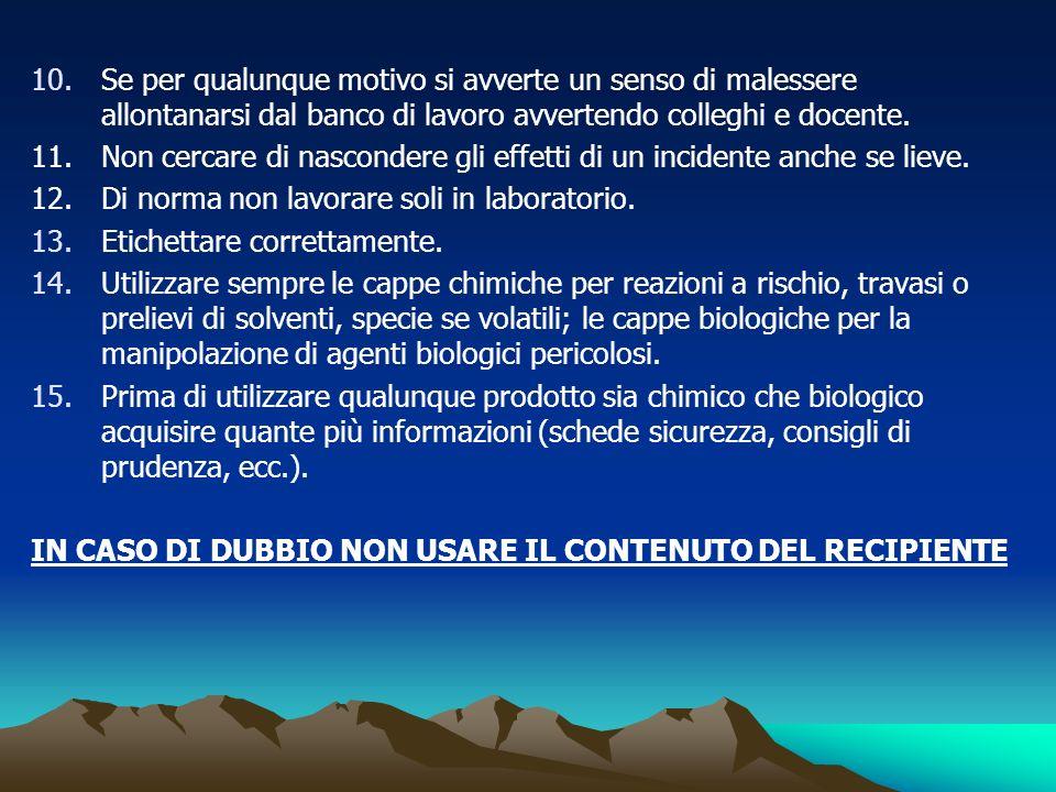 16.Conservare in laboratorio solo quantitativi minimi di sostanze infiammabili o solventi.