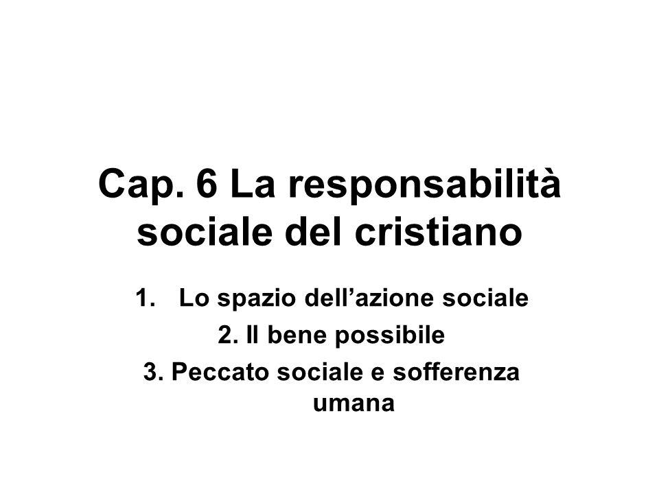 Cap. 6 La responsabilità sociale del cristiano 1.Lo spazio dellazione sociale 2. Il bene possibile 3. Peccato sociale e sofferenza umana