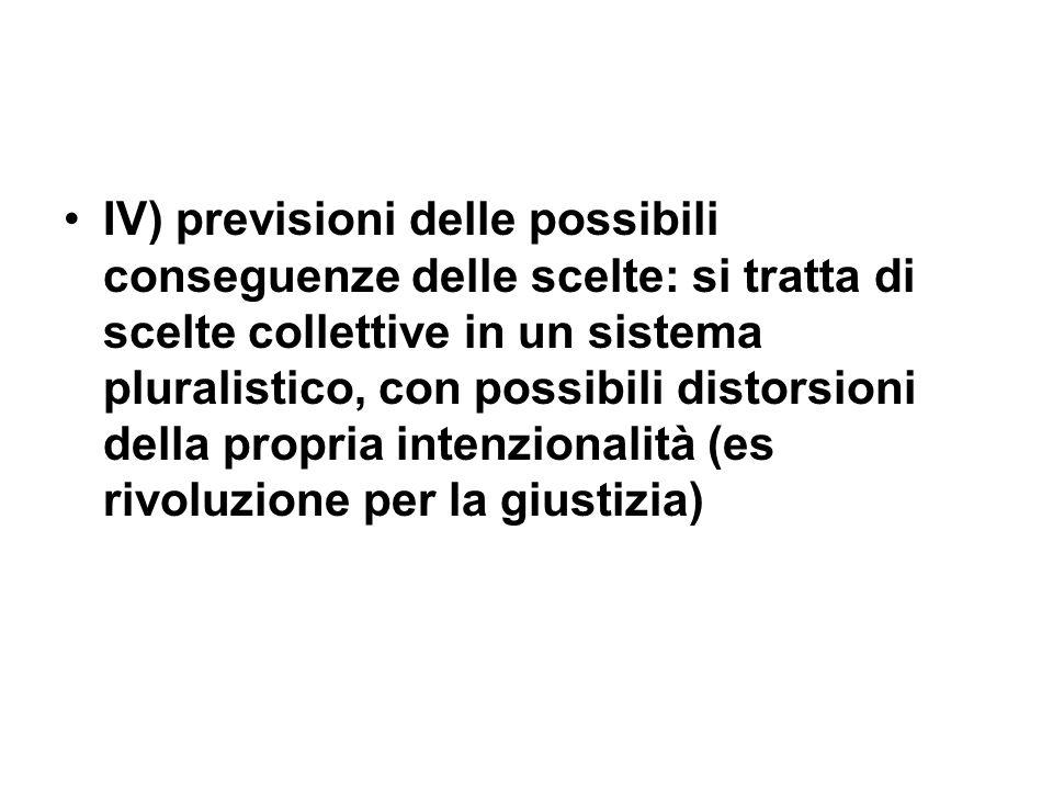 IV) previsioni delle possibili conseguenze delle scelte: si tratta di scelte collettive in un sistema pluralistico, con possibili distorsioni della pr