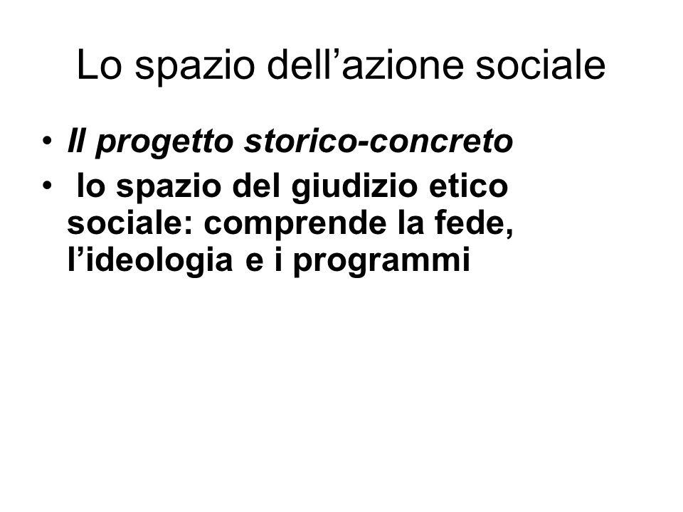 Lo spazio dellazione sociale Il progetto storico-concreto lo spazio del giudizio etico sociale: comprende la fede, lideologia e i programmi