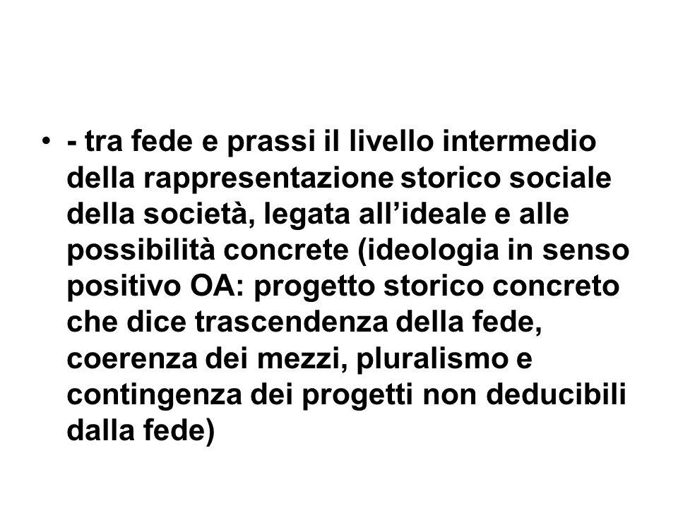 - tra fede e prassi il livello intermedio della rappresentazione storico sociale della società, legata allideale e alle possibilità concrete (ideologi