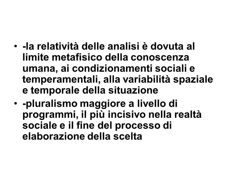 -la relatività delle analisi è dovuta al limite metafisico della conoscenza umana, ai condizionamenti sociali e temperamentali, alla variabilità spazi