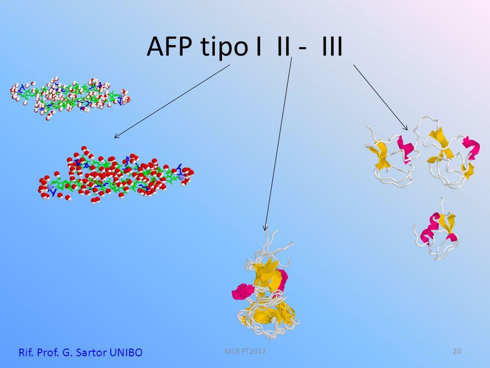AFP tipo I II - III Rif. Prof. G. Sartor UNIBO 20MLB PT2012