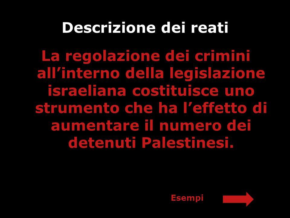 Descrizione dei reati La regolazione dei crimini allinterno della legislazione israeliana costituisce uno strumento che ha leffetto di aumentare il nu