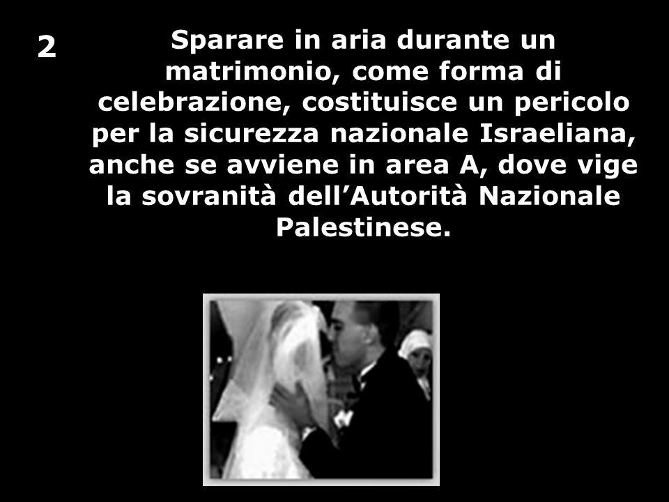 Sparare in aria durante un matrimonio, come forma di celebrazione, costituisce un pericolo per la sicurezza nazionale Israeliana, anche se avviene in