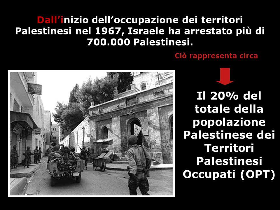 Dallinizio delloccupazione dei territori Palestinesi nel 1967, Israele ha arrestato più di 700.000 Palestinesi. Il 20% del totale della popolazione Pa