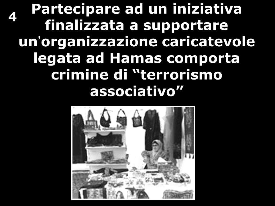 Partecipare ad un iniziativa finalizzata a supportare un organizzazione caricatevole legata ad Hamas comporta crimine di terrorismo associativo 4