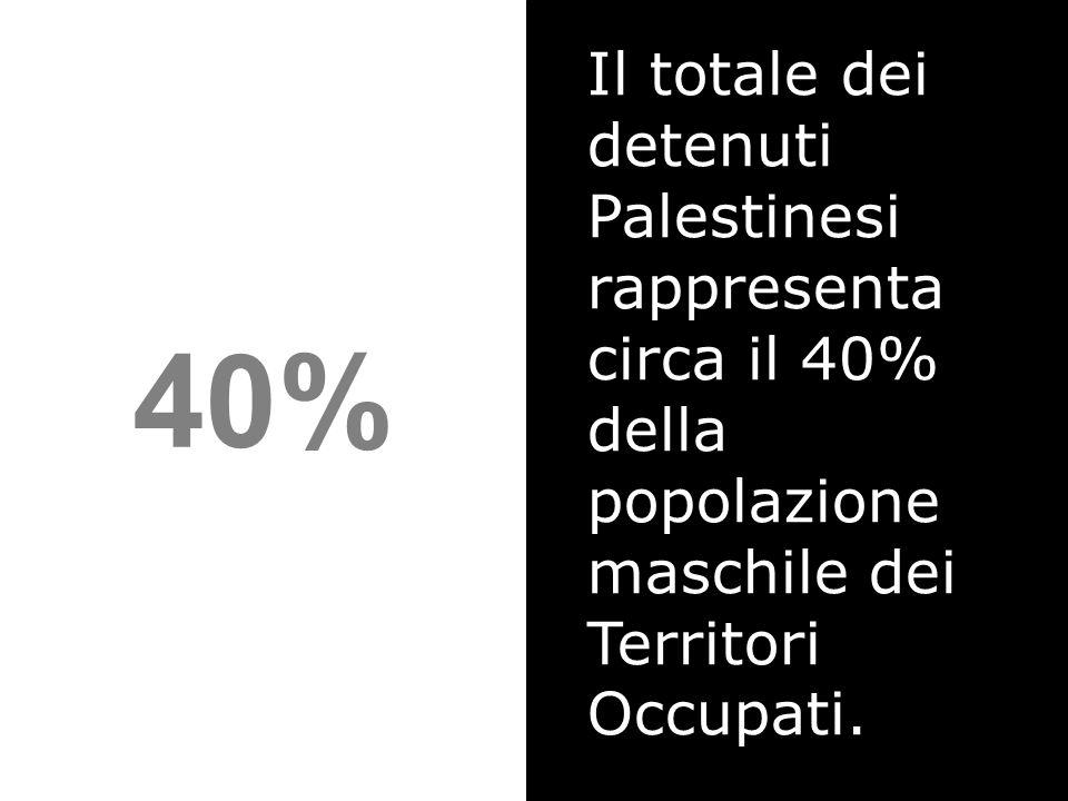 40% Il totale dei detenuti Palestinesi rappresenta circa il 40% della popolazione maschile dei Territori Occupati.