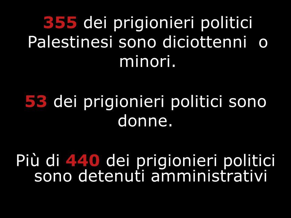 Più di 440 dei prigionieri politici sono detenuti amministrativi 53 dei prigionieri politici sono donne. 355 dei prigionieri politici Palestinesi sono