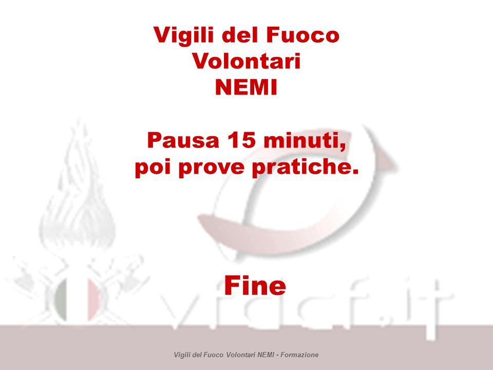 Fine Vigili del Fuoco Volontari NEMI Pausa 15 minuti, poi prove pratiche.