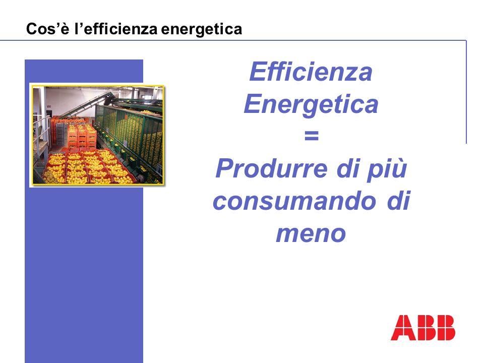 Cosè lefficienza energetica Efficienza Energetica = Produrre di più consumando di meno