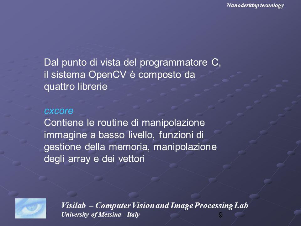 20 Visilab – Computer Vision and Image Processing Lab University of Messina - Italy Nanodesktop tecnology Inseriamo il nostro primo programma OpenCV.
