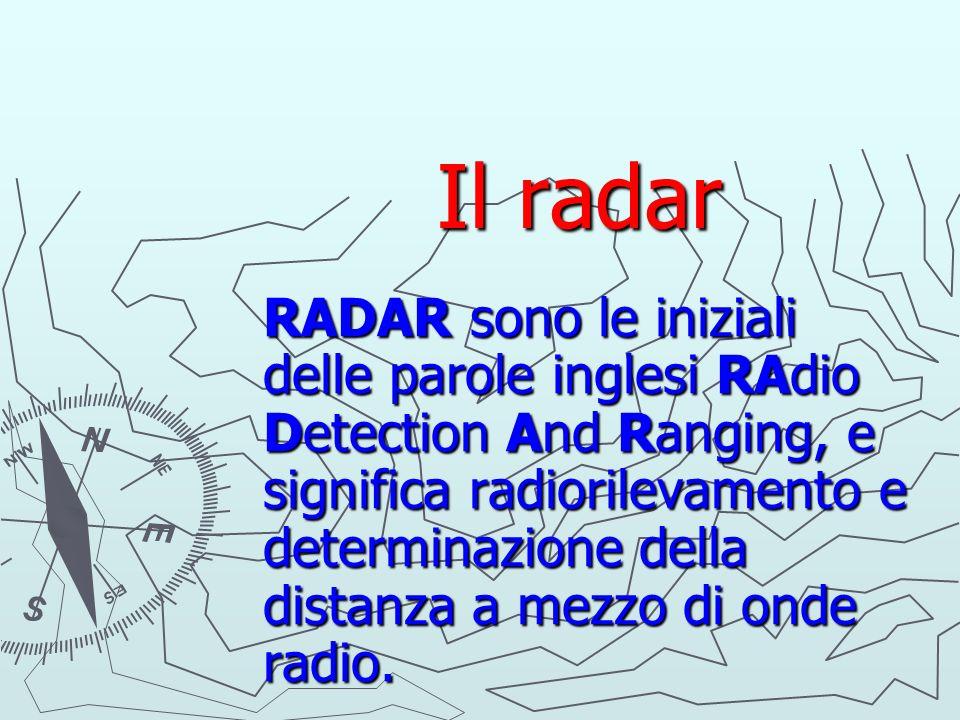 Il radar Il radar RADAR sono le iniziali delle parole inglesi RAdio Detection And Ranging, e significa radiorilevamento e determinazione della distanz