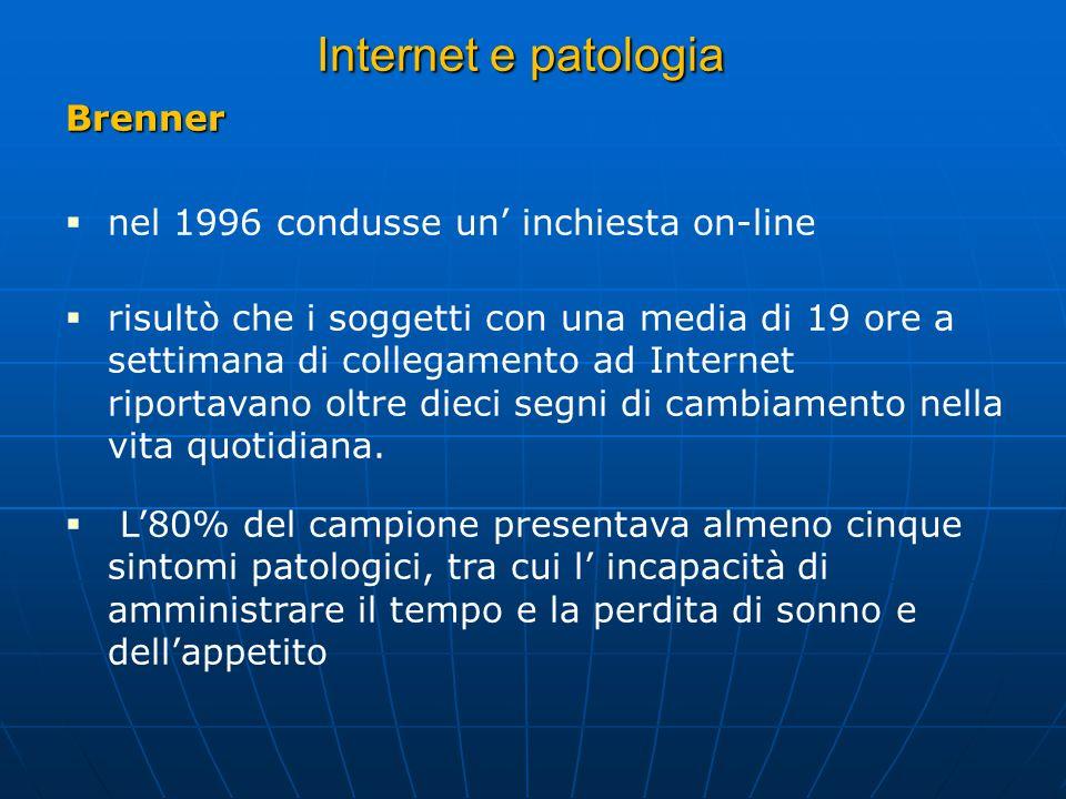 Brenner nel 1996 condusse un inchiesta on-line risultò che i soggetti con una media di 19 ore a settimana di collegamento ad Internet riportavano oltre dieci segni di cambiamento nella vita quotidiana.