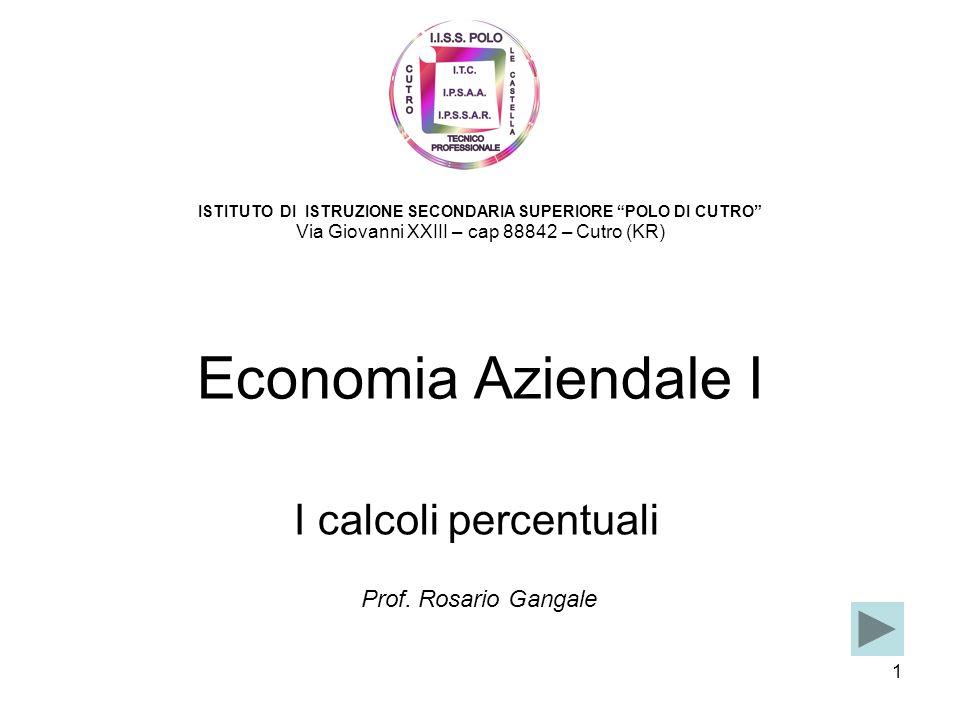 1 Economia Aziendale I I calcoli percentuali ISTITUTO DI ISTRUZIONE SECONDARIA SUPERIORE POLO DI CUTRO Via Giovanni XXIII – cap 88842 – Cutro (KR) Pro