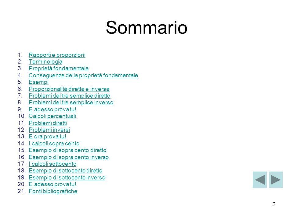 2 Sommario 1.Rapporti e proporzioniRapporti e proporzioni 2.TerminologiaTerminologia 3.Proprietà fondamentaleProprietà fondamentale 4.Conseguenze dell