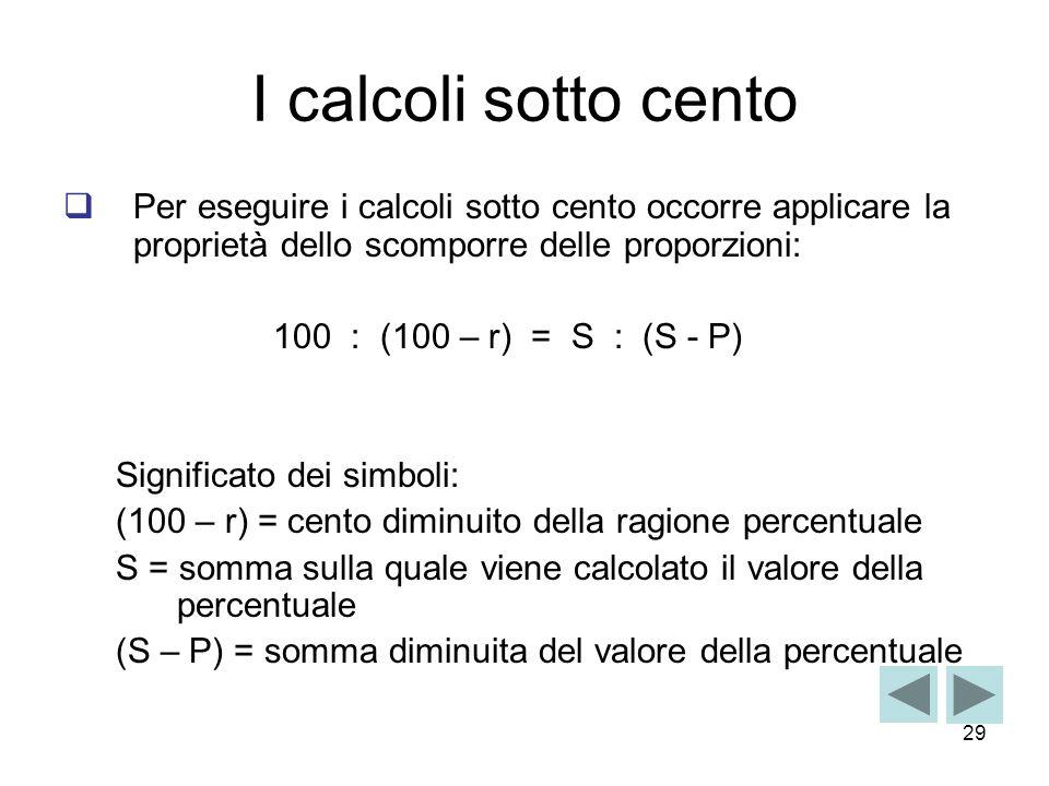 29 I calcoli sotto cento Per eseguire i calcoli sotto cento occorre applicare la proprietà dello scomporre delle proporzioni: 100 : (100 – r) = S : (S