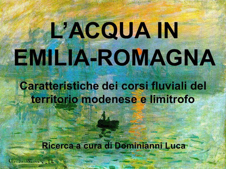 Caratteristiche dei corsi fluviali del territorio modenese e limitrofo LACQUA IN EMILIA-ROMAGNA Ricerca a cura di Dominianni Luca